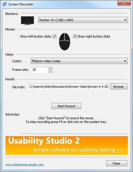 Screen Recorder - Main window
