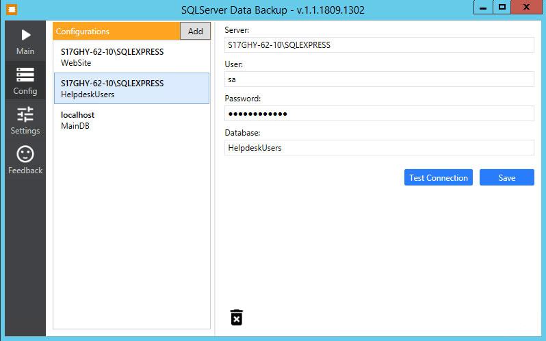 SQL Server Data to JSON - Settings