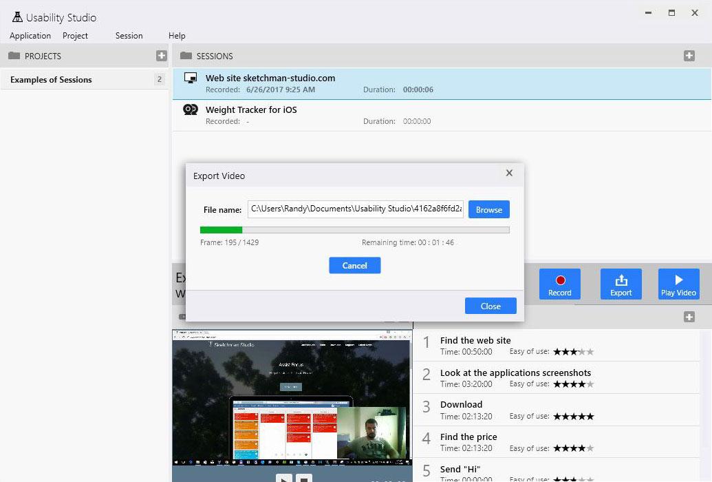 Usability Studio - Video export