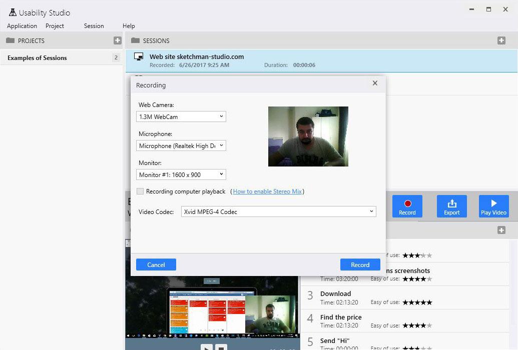 Usability Studio - Screen recording